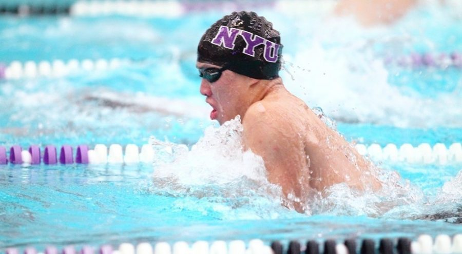 Tim+Kou+set+the+NYU+record+in+the+100-yard+breaststroke+at+the+MIT+Winter+Invitational.+