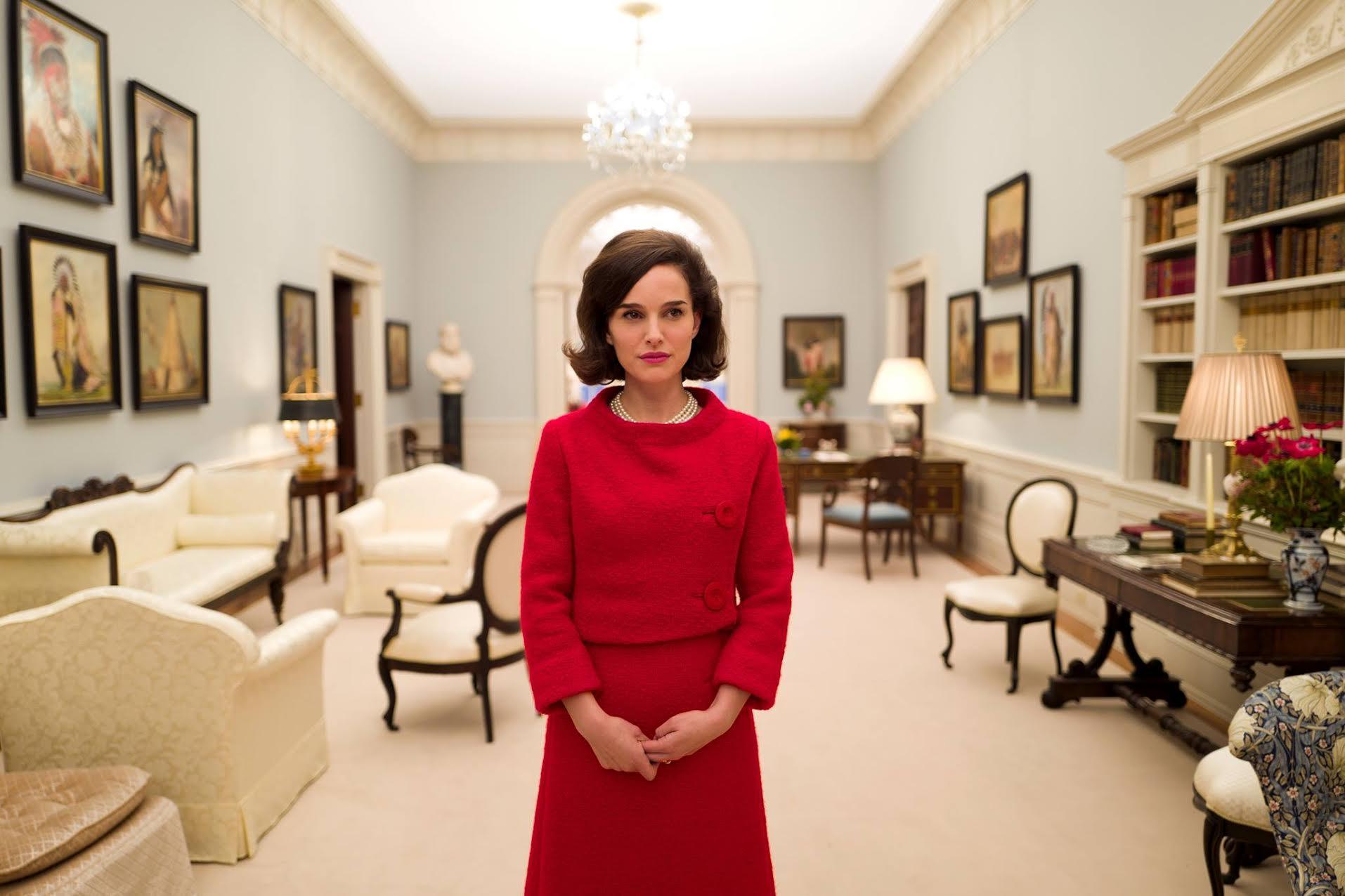 Natalie Portman portrays First Lady Jackie Kennedy, in Jackie.