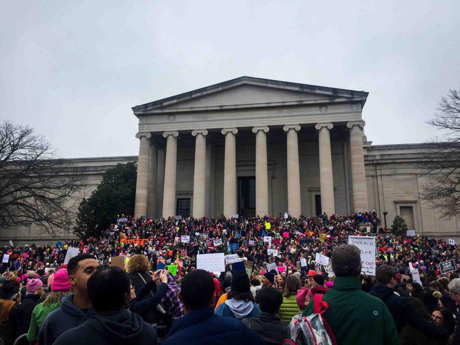 Protesters+marching+in+Washington+as+part+of+the+Women%27s+March+on+Washington.
