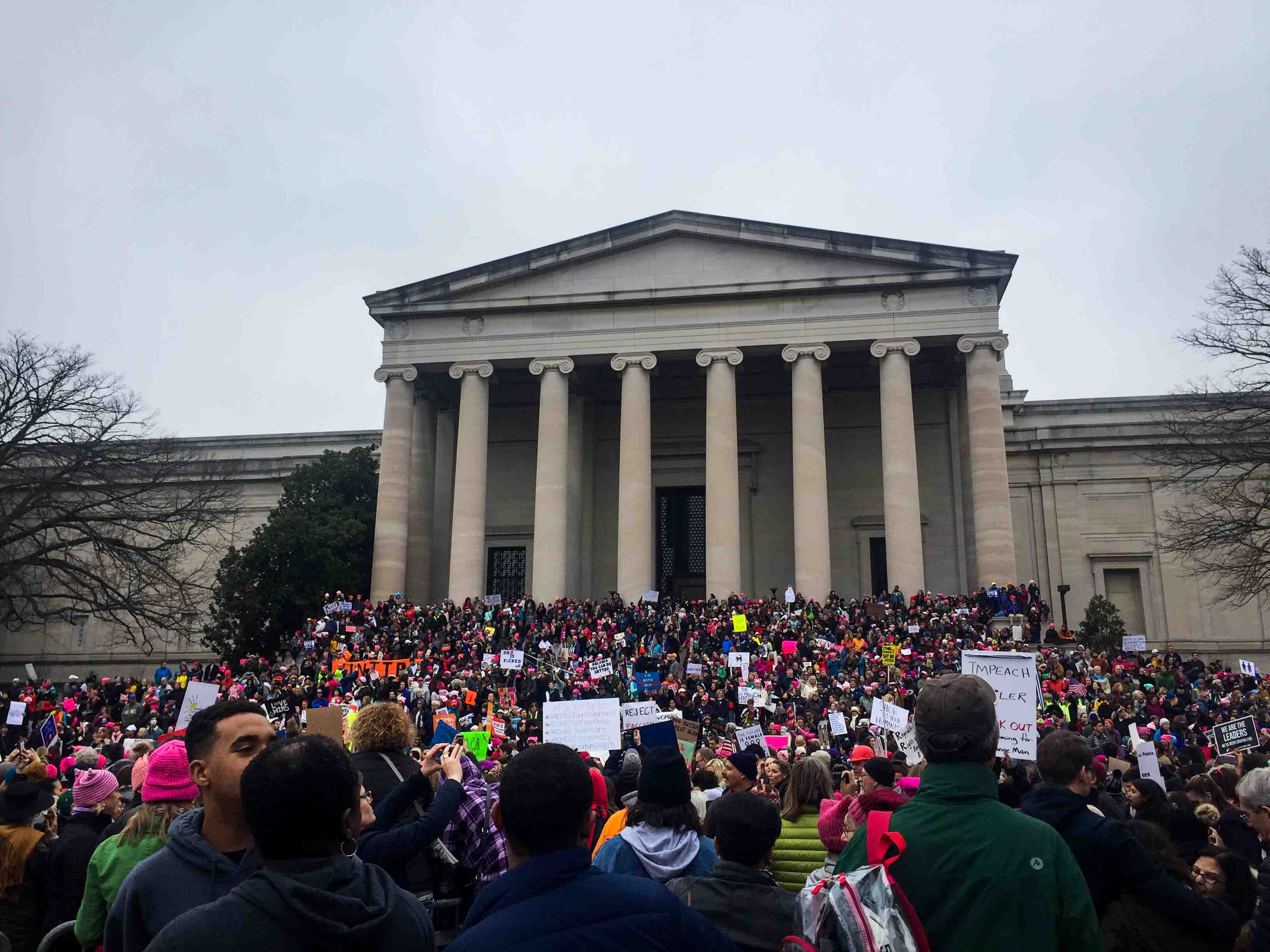 Protesters marching in Washington as part of the Women's March on Washington.
