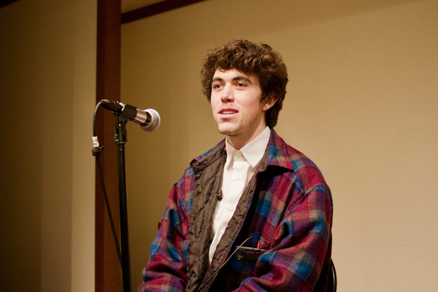 Hunter+Thompson%2C+a+freshman+in+Gallatin%2C+prepares+his+performance+for+the+Coffeehouse+Open+Mic+Night