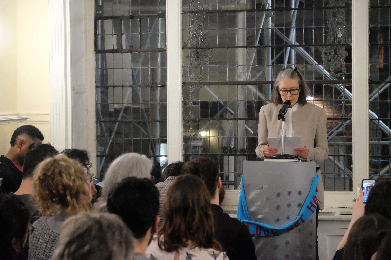 Anne Carson spoke on Thursday at the Lillian Vernon Creative Writers House.