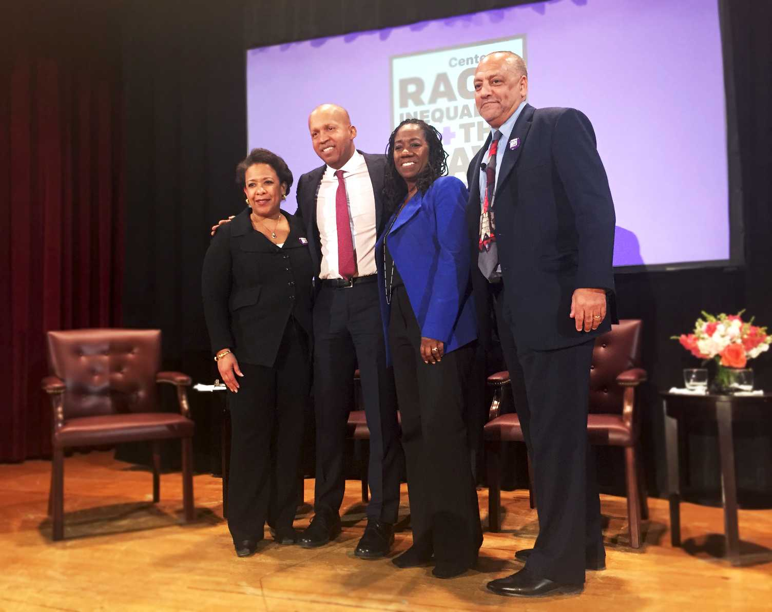 From left to right, former Attorney General Loretta Lynch, NYU Law professor Bryan Stevenson, Sherrilyn Ifill and Tony Thompson at the Center on Race, Inequality and the Law's Inaugural Conversation.  This event took place in the Greenberg Lounge of the NYU Law school on February 27 to discuss the effects of racial bias and economic inequality.
