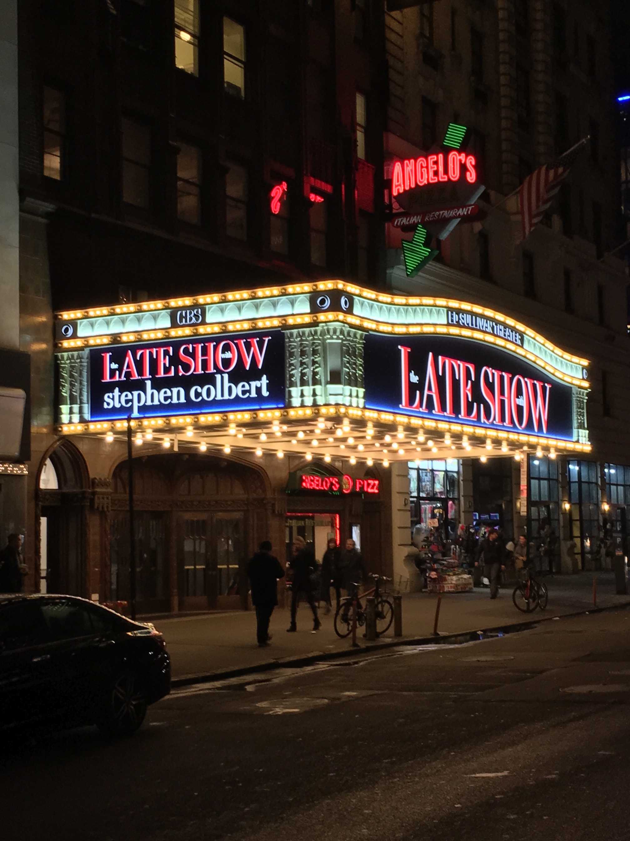 The studio of the Late Show with Stephen Colbert is located at the Ed Sullivan Theater on Broadway.