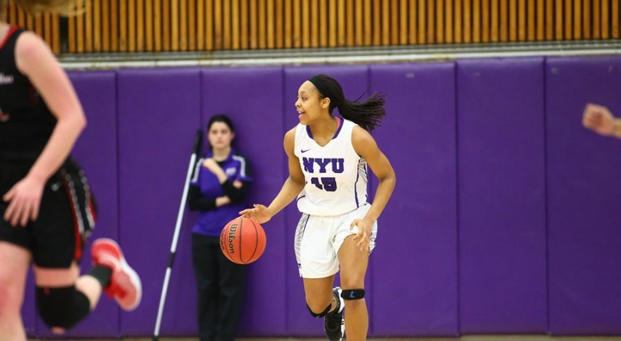 Lauren+Brown%2C+forward+for+the+NYU+Basketball+team%2C+offering+14+points+to+the+Violet%E2%80%99s+win%2C+Sunday.+Feb.+12%2C+2017.+Catch+up+with+NYU%E2%80%99s+basketball%2C+swimming+and+diving%2C+wrestling%2C+and+Men%E2%80%99s+volleyball+here.
