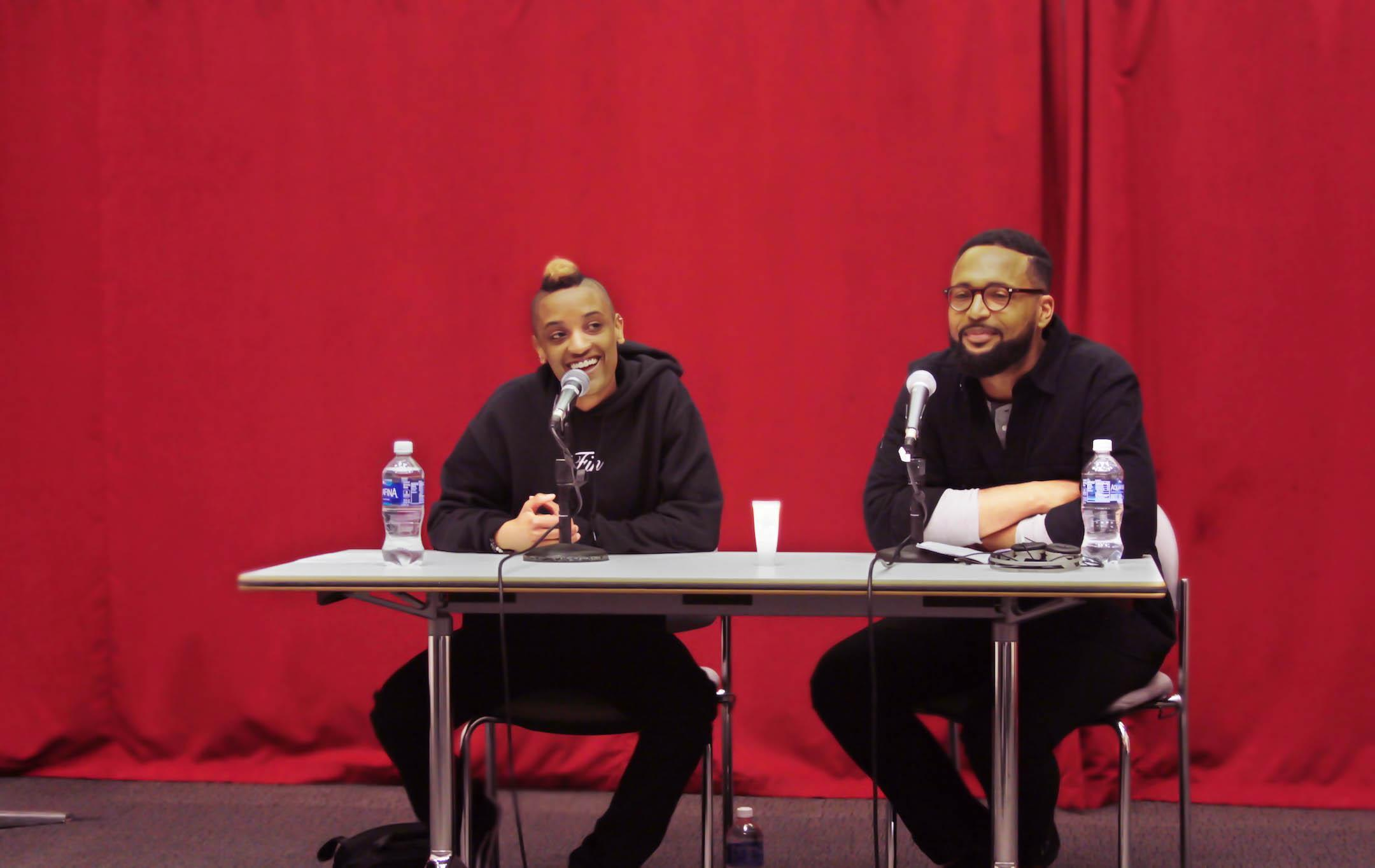 Syd The Kid (left) and Gallatin professor Kwami Coleman (right) discuss Syd's backstory, from what made her want to begin her musical career to how she got to where she is today with The Internet. The Q&A session occurred on Feb. 24.