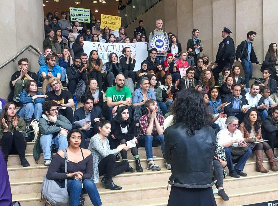 A+speaker+talks+at+the+Kimmel+Center+for+University+Life%2C+as+part+of+the+Sanctuary+Campus+movement%2C+Wednesday.+Tension+has+been+growing+among+students+as+NYU+President+Andrew+Hamilton+has+failed+to+declare+the+university+a+sanctuary+campus+for+undocumented+students+in+response+to+the+hard-line+immigration+policy+being+implemented+by+U.S.+President+Donald+Trump.