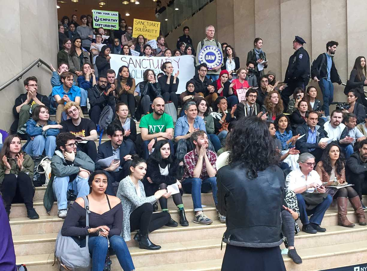 A speaker talks at the Kimmel Center for University Life, as part of the Sanctuary Campus movement, Wednesday. Tension has been growing among students as NYU President Andrew Hamilton has failed to declare the university a sanctuary campus for undocumented students in response to the hard-line immigration policy being implemented by U.S. President Donald Trump.