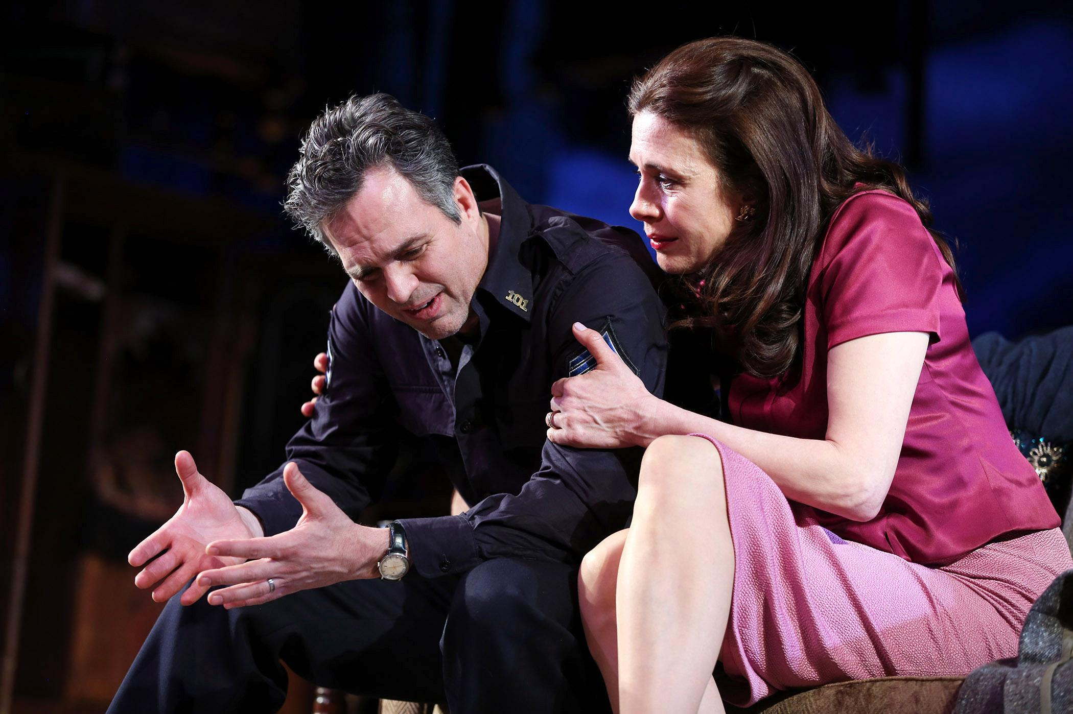 """Mark Ruffalo and Jessica Hecht play Victor and Esther in Arthur Miller's """"The Price."""" The production opened to the public at American Airlines Theatre on Thursday."""
