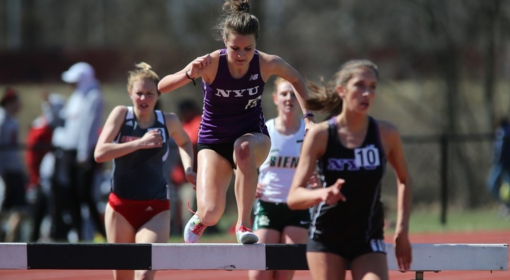 Justine Morris running the 3,000 meter steeplechase during day one of the Sam Howell Invitational, at Princeton University.