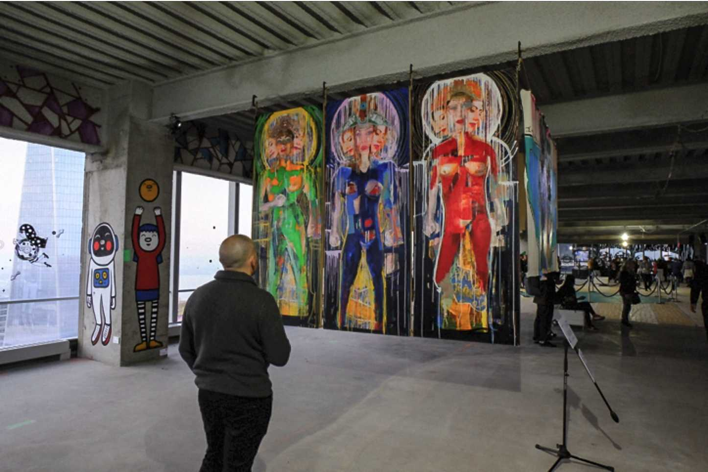 The 69th floor of 4 World Trade Center displays murals and sculptures by over 50 different street artists. The project is  headed by curators Doug Smith, Jane Chun Smith and Joshua Geyer in collaboration with Executive in Charge of Production Robert Marcucci.