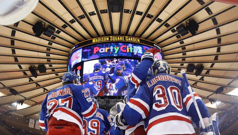 The New York Rangers celebrate their victory over the Montreal Canadiens in game six of the Stanley Cup Playoffs on Saturday. NYU reacts to the team's success.