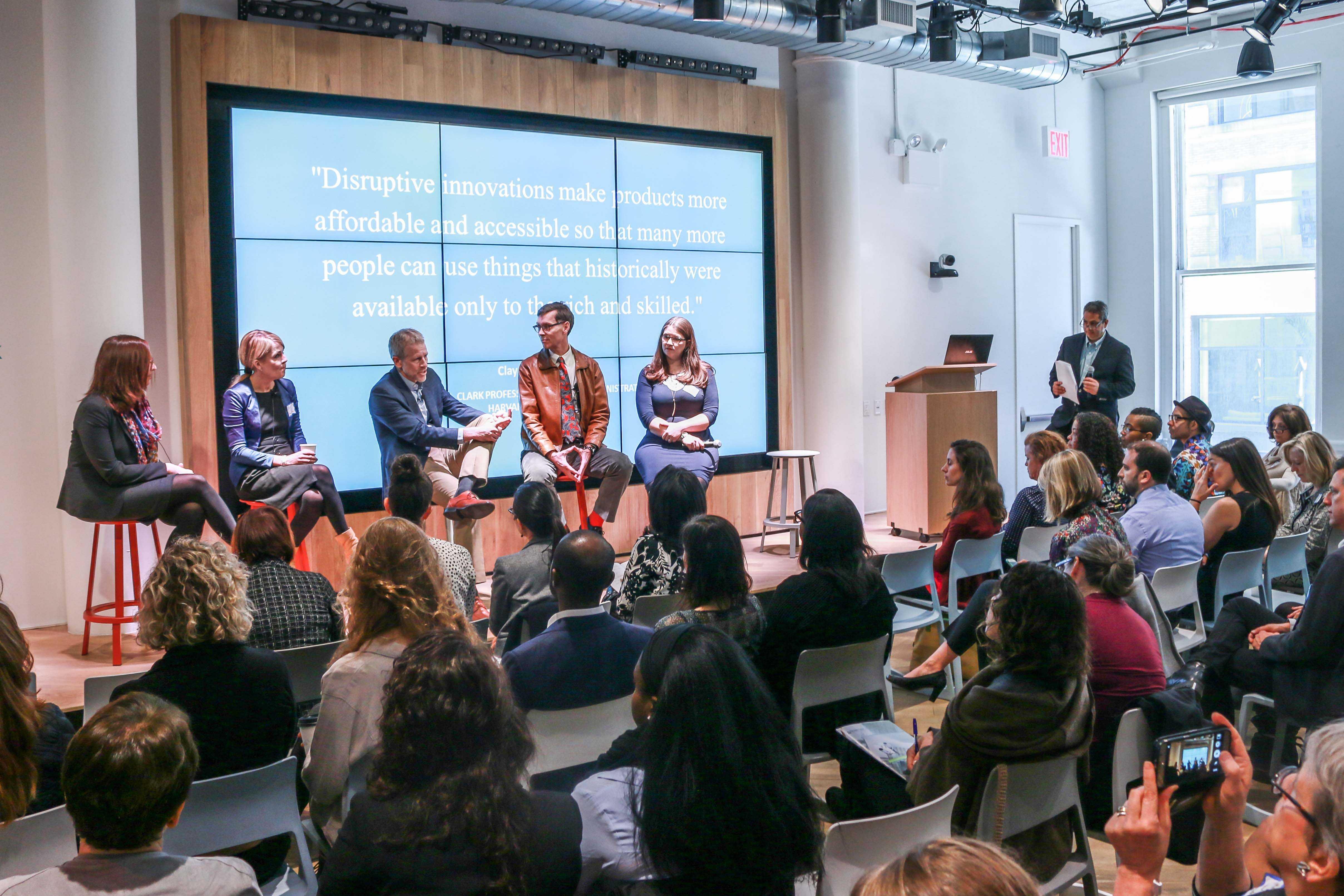 Deborah Goldfarb, Patsy Doerr, Whitney Tilson, Daniel Rabuzzi and Lauren Locke, speaking at NYU Alum David Dosamantes' panel on Corporate Social Responsibility in an Age of Disruption.