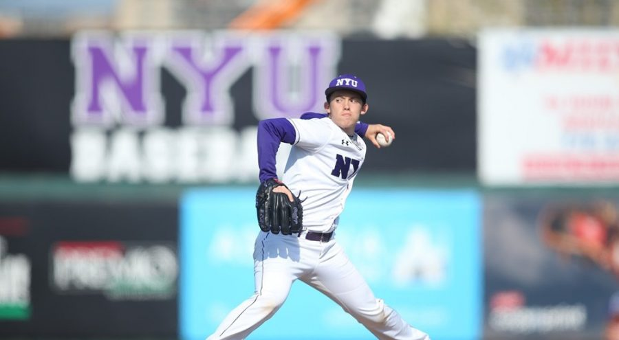 GLS+sophomore+Eli+Edwards+pitched+for+the+NYU+baseball+team+against+Emory+University+on+Saturday.+NYU+lost+both+games.