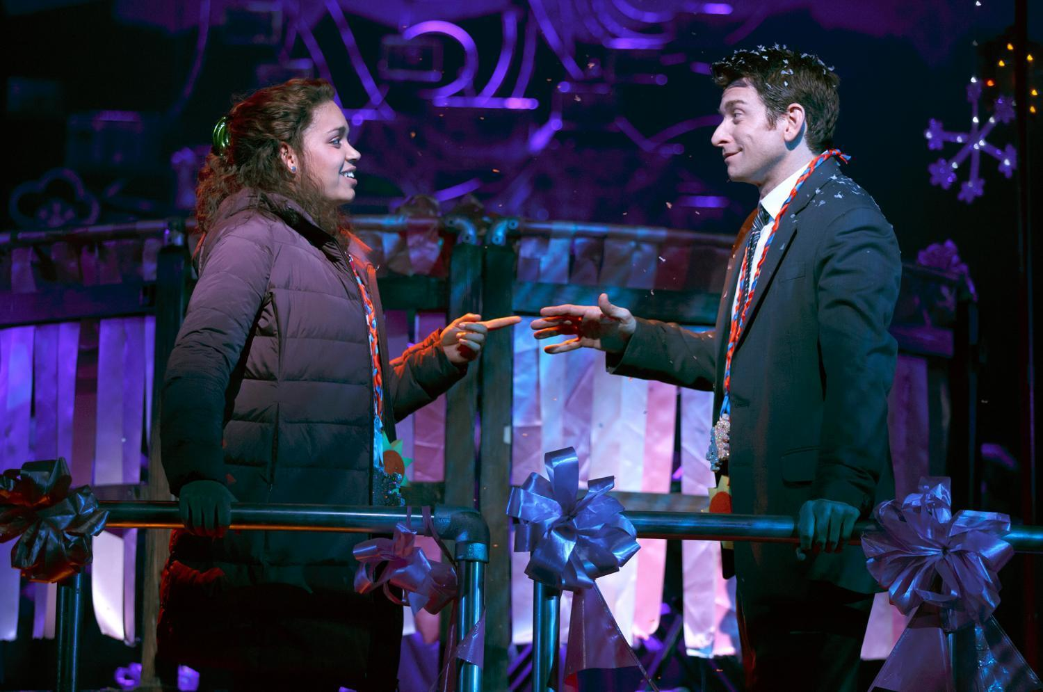 """Barrett Doss and Andy Karl star in Matthew Warchus' stage adaptation of the classic 1993 film """"Groundhog Day."""""""