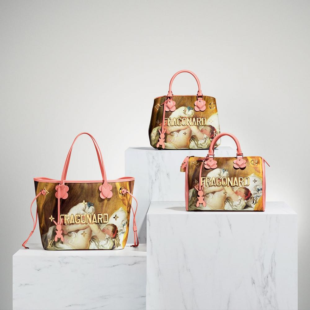 Fragonard, from the Masters Collection by Louis Vuitton and artist Jeff Koons. Louis Vuitton has collaborated with Koons to create a 51 piece collection of bags and accessories that depict famous renaissance art.