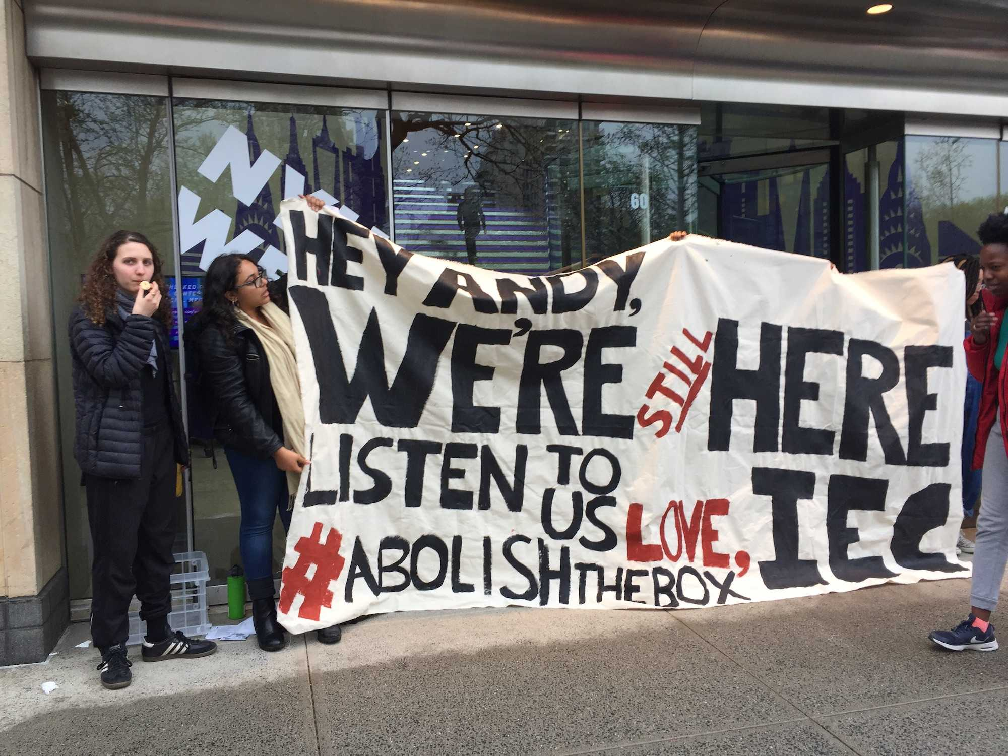 The Incarceration to Education Coalition, joined by Student Labor Action Movement, protested outside the Kimmel Center for University Life. IEC protested NYU's inclusion of the box indicating criminal history on its application.