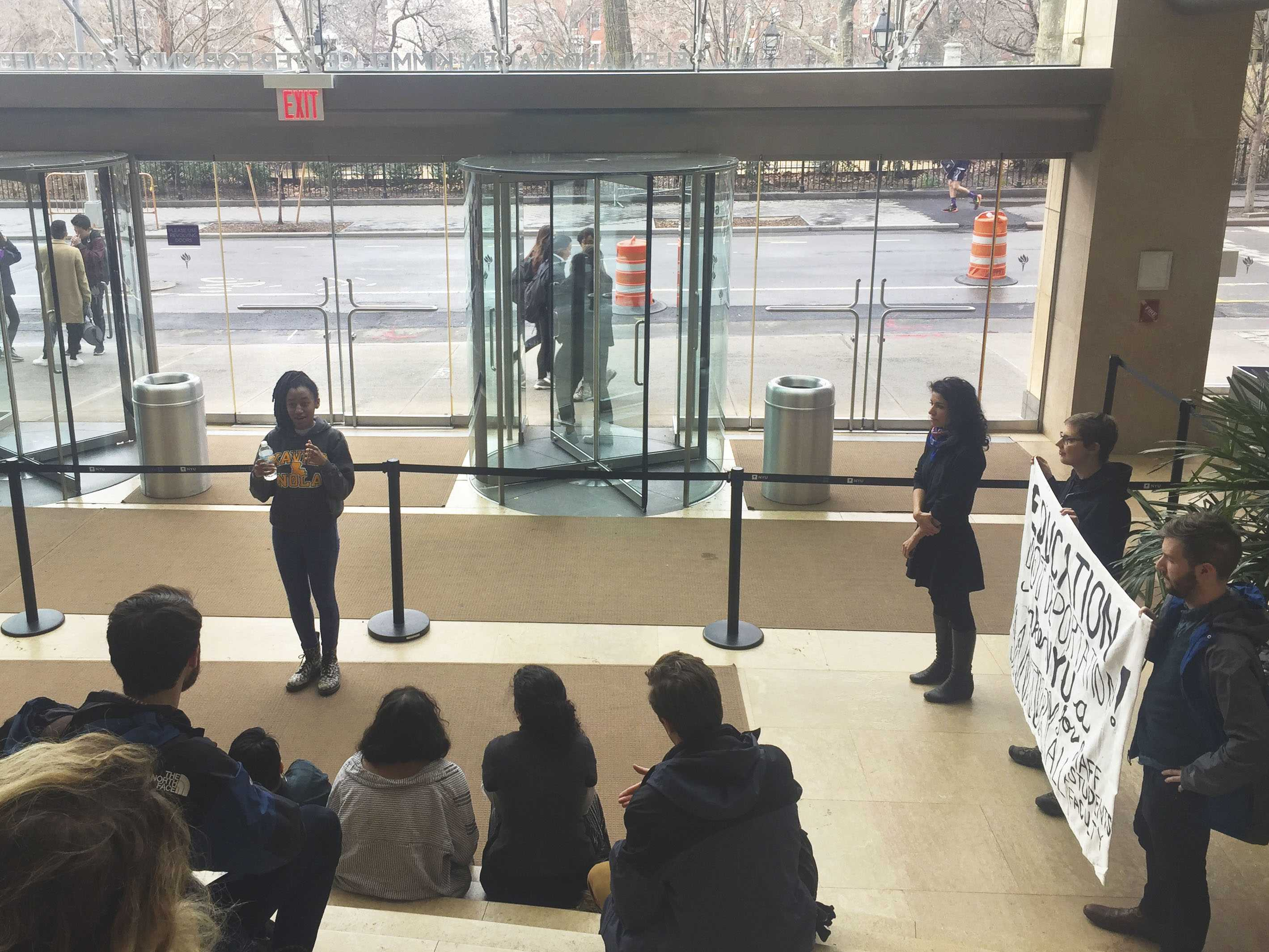 The fight to make NYU a sanctuary campus continued today at a rally at the Kimmel Center for University Life. NYU Sanctuary members read the policy demands and updated the students on their meeting with President Andrew Hamilton.