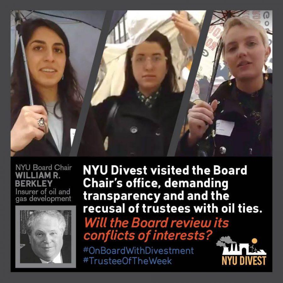 NYU+Divest+visited+the+corporate+office+of+Board+of+Trustees+chair+William+Berkley+on+March+31+to++deliver+a+letter+discussing+a+revote+on+the+rejection+of+divesting+from+fossil+fuels+industry+in+June+2016.+