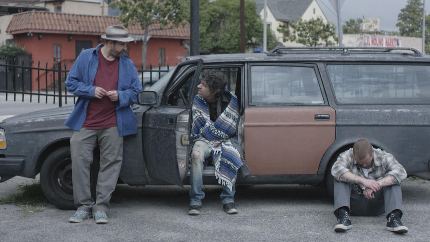 "Tommy Swerdlow as Tommy, TJ Bowen as TJ and Blake Heron as Blake chill in the car in ""A Thousand Junkies."""