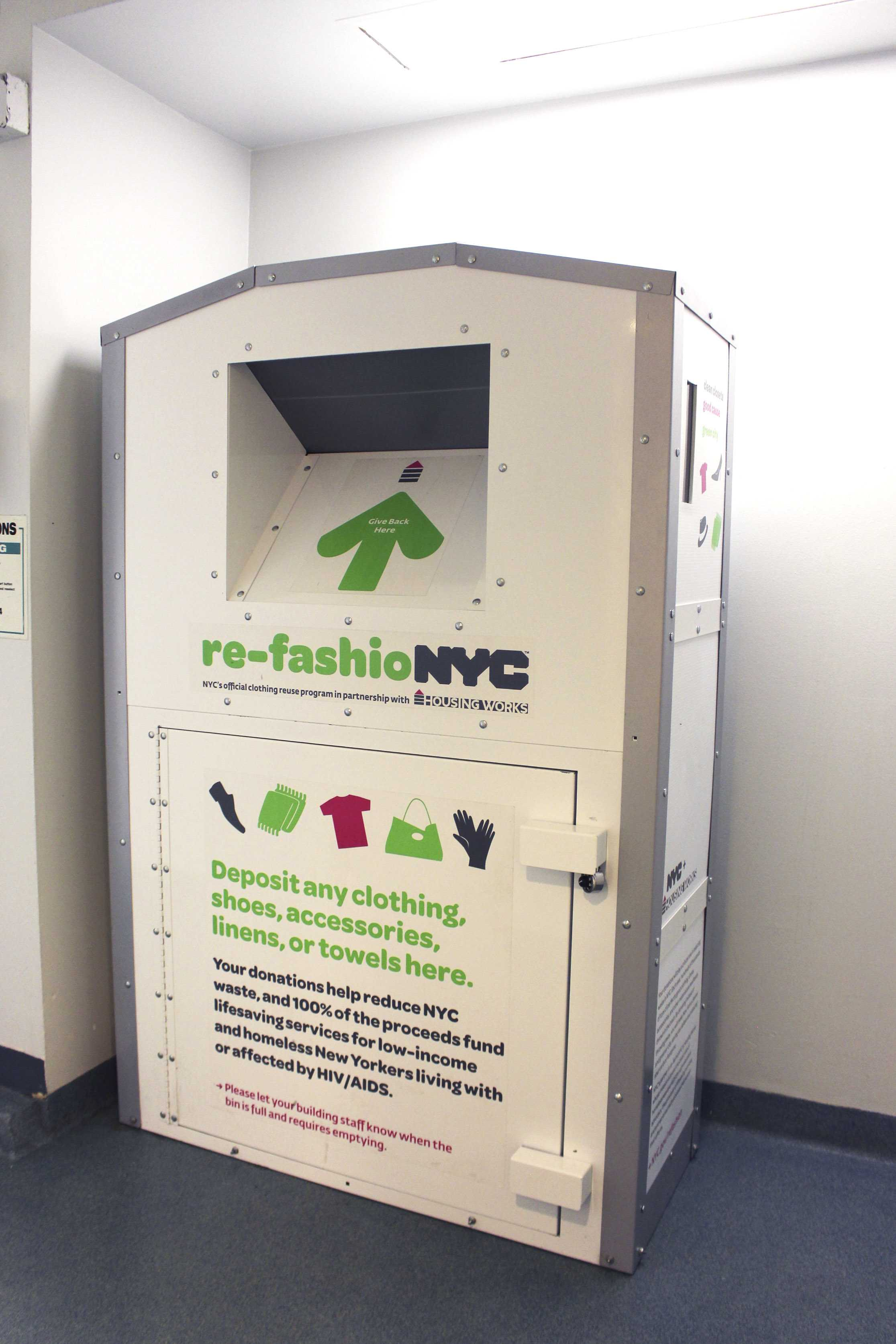 Third North's laundry room holds a re-fashioNYC recycling point — 16 other halls have joined this initiative. The re-fashioNYC program promotes the recycling of clothing, the majority of which is not biodegradable.