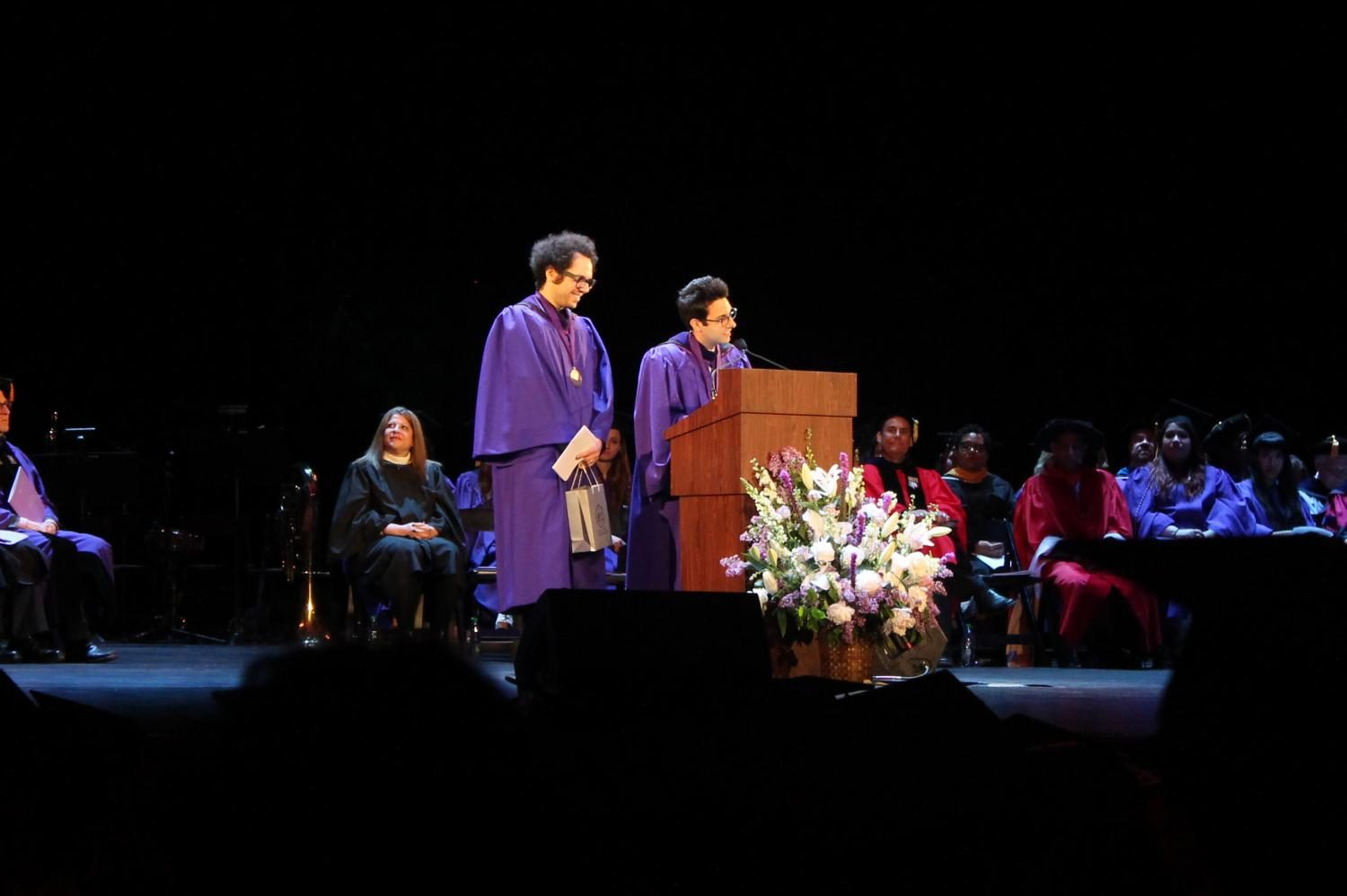 Steinhardt+alumni+Ian+Axel+and+Chad+King%2C+who+make+up+the+platinum-selling+music+group+A+Great+Big+World%2C+accepted+the+2017+Dorothy+Height+Distinguished+Alumni+Award+at+this+year%27s+Steinhardt+Undergraduate+Commencement+ceremony.+The+duo+graduated+in+2007+from+the+school%27s+Music+Business+program.