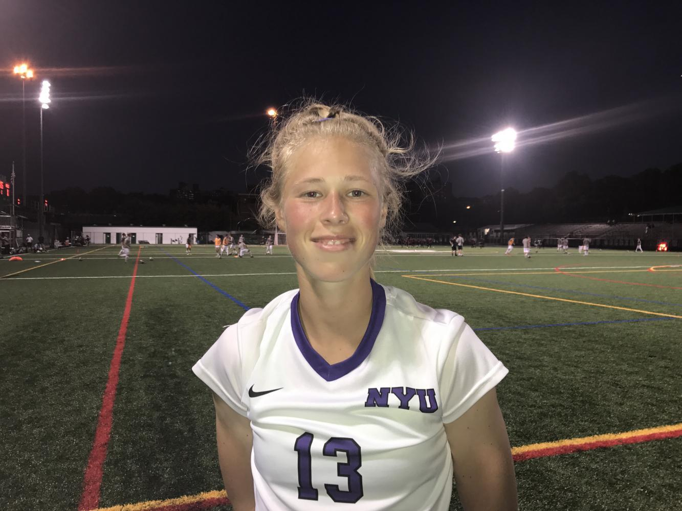 Meghan Marhan, an NYU Stern freshman, scored her first goal on Sept. 19 at the game against Farmingdale State College