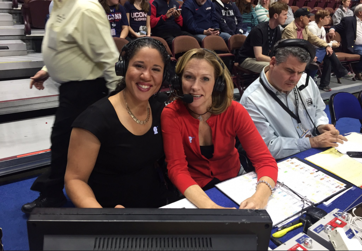 NFL Announcer Beth Mowins (right) faced sexist criticism after becoming the first female play-by-play announcer in 30 years to call an NFL regular season game.