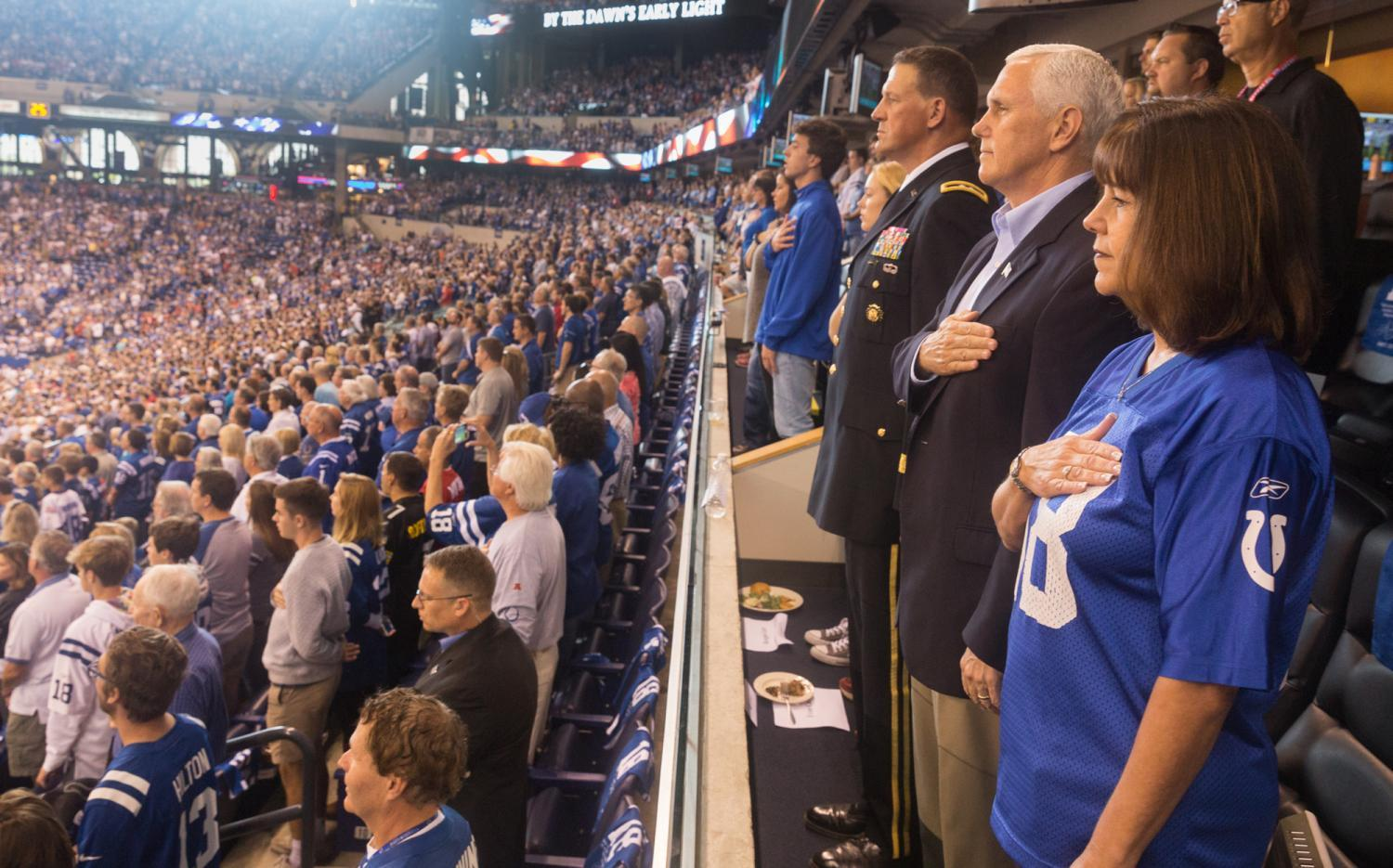 Vice President Mike Pence abruptly left the Colts and 49ers game on Oct. 8 in Indianapolis after several players knelt during the national anthem.