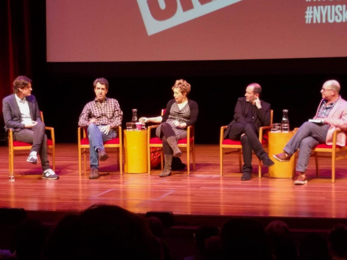 On+Oct.+2+at+Skirball%2C+Laurence+Maslon+hosted+a+talk+with+three+Tony-Winning+writers+Jason+Robert+Brown%2C+Lisa+Kron+and+Steven+Lutvak.+The+panel%2C+%E2%80%9CVisionaries+from+the+worlds+of+politics%2C+the+arts%2C+sciences%2C+academia+and+more%E2%80%9D+is+hosted+every+Monday+at+6%3A30pm.
