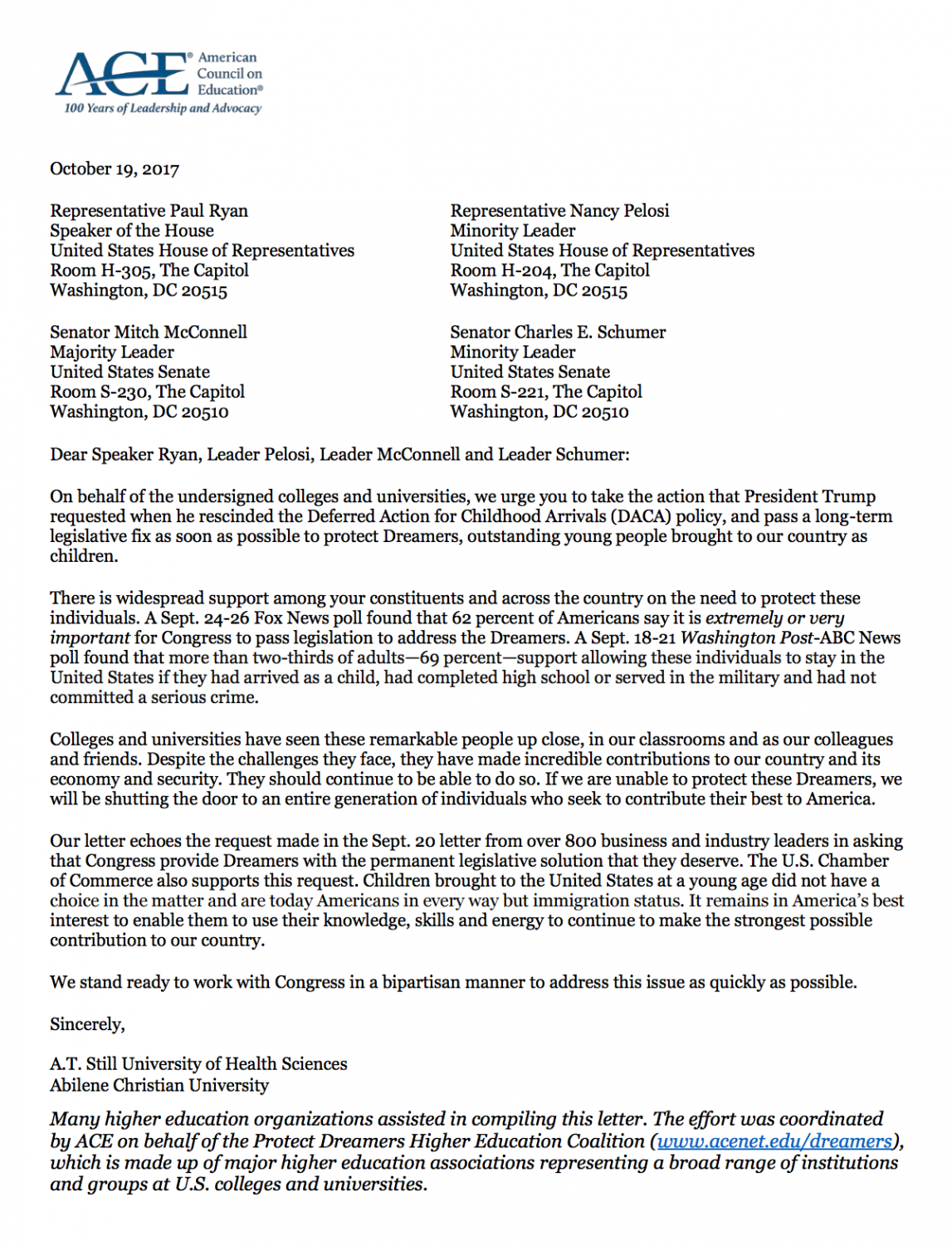 On Oct. 19, 800 colleges and universities around the U.S., including NYU, signed a letter to the House of Representatives urging them to protect immigrants while DACA is in the process of a repeal.
