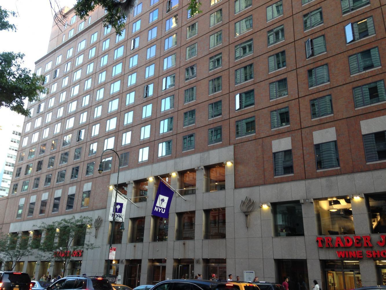 NYU's Palladium building, where the Wasserman Center for Career Development is located. Here, students are able to find and inquire about internships.