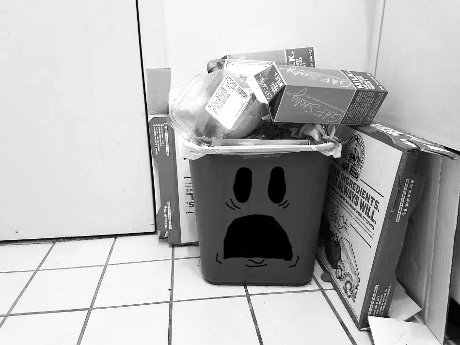 Traumatized trash can can't take it anymore