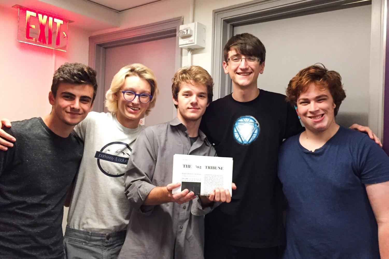 Brittany Hall residents (L to R) Nicolas Brunstein, Samuel Slocum, Gabriel Oldfield, Benjamin Florence and Joshua Ellis-Einhorn created a newsletter named the 02 Tribune which is only sent to other rooms ending in 02.