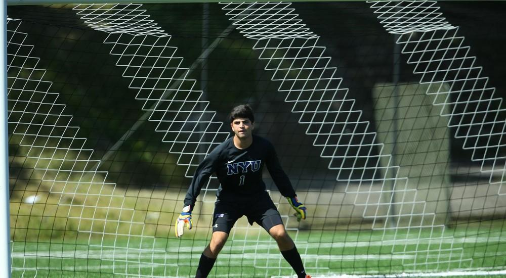 NYU men's soccer goalie Grant Engels, a junior in CAS, has been awarded UAA Player of the Week.