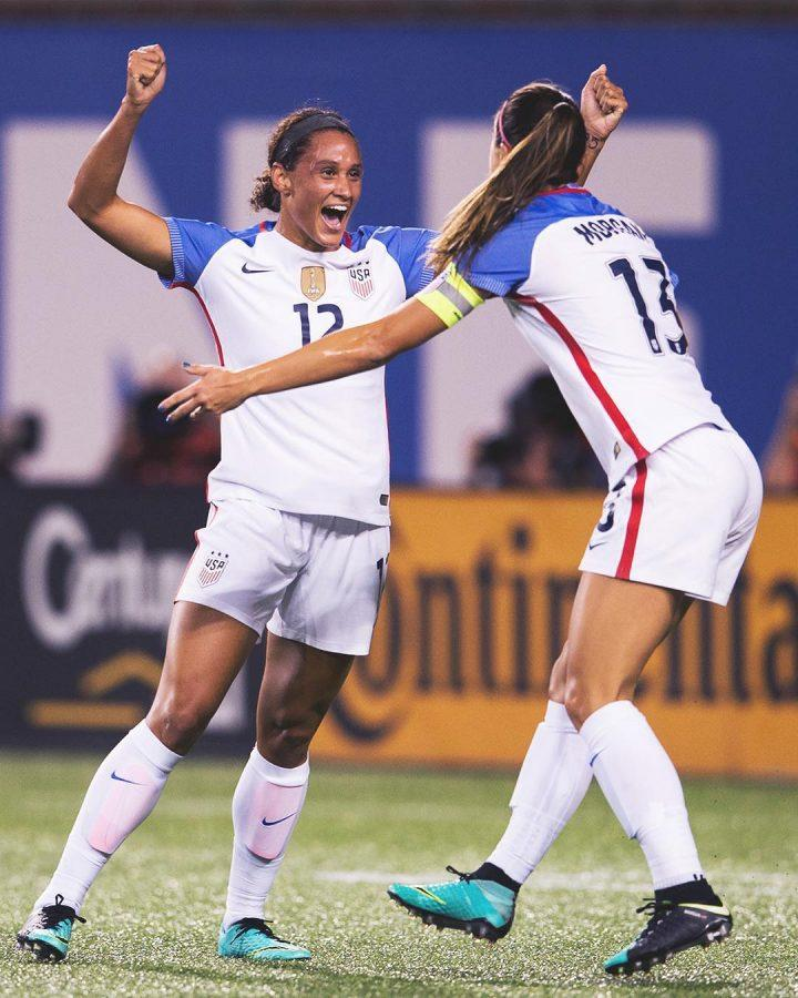 US+women%27s+soccer+team+players+Lynn+Williams+and+Alex+Morgan+celebrate+after+a+game+in+North+Carolina.