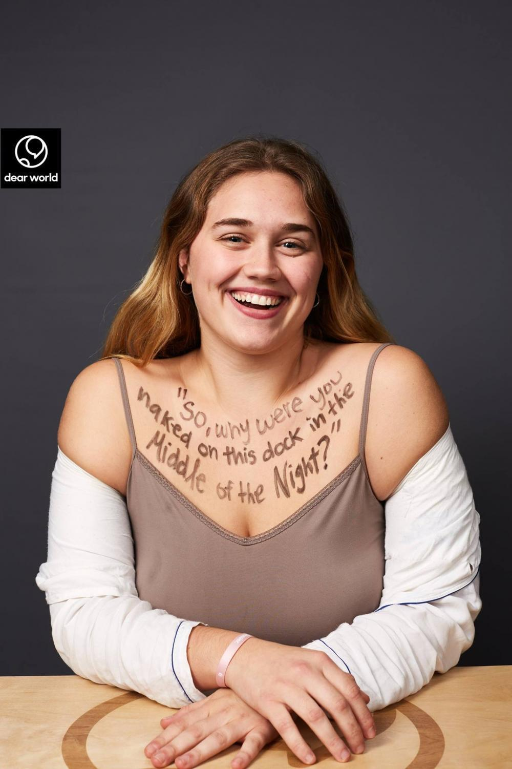 "Chloe Citron took part in the ""Dear World"" art project and shares her story through the letters written on her chest."