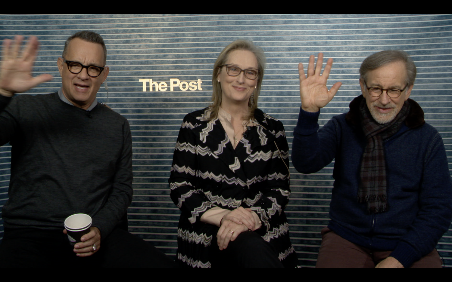 Hanks, Streep and Spielberg speak with college publications via Skype about their new movie.