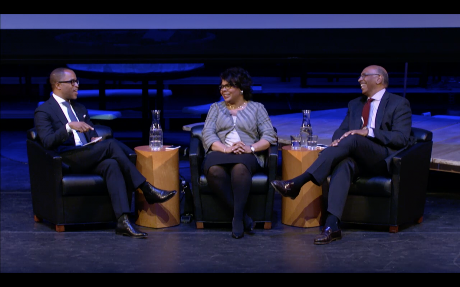 Jonathan Capehart, who sits on the Washington Post editorial board; April Ryan, White House Correspondent for American Urban Radio Networks, and Michael Steele, the former chair of the Republican National Committee, took to the stage on Monday to discuss race and politics in America.