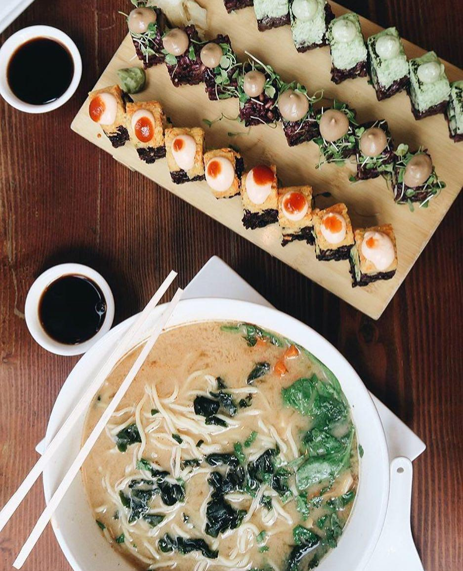 Beyond Sushi offers a number of sushi rolls and soups that pass on the raw fish for a variety of vegetables as a vegan alternative.