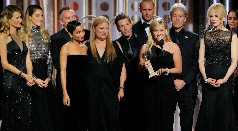 The+cast+of+%E2%80%98Big+Little+Lies%E2%80%99+accepts+the+Golden+Globe+Award+for+Best+Miniseries+on+Jan.+7%2C+2018.+Stars+wore+black+in+support+of+the+%E2%80%98Time%E2%80%99s+Up%E2%80%99+and+%23MeToo+movements.