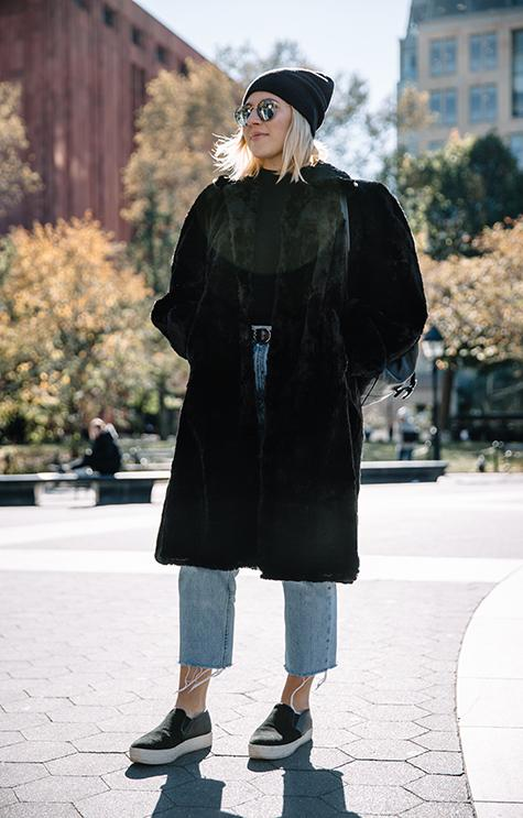 A+stylish+New+Yorker+sports+a+faux+fur+coat+in+Washington+Square+Park.