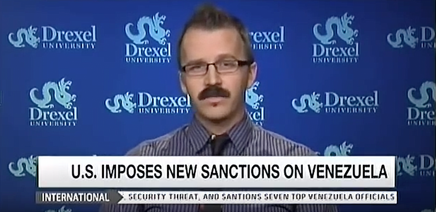George Ciccariello-Maher appearing on MSNBC in 2015. Ciccariello is controversial for his opinions on white genocide and has recently been named a visiting scholar at NYU.