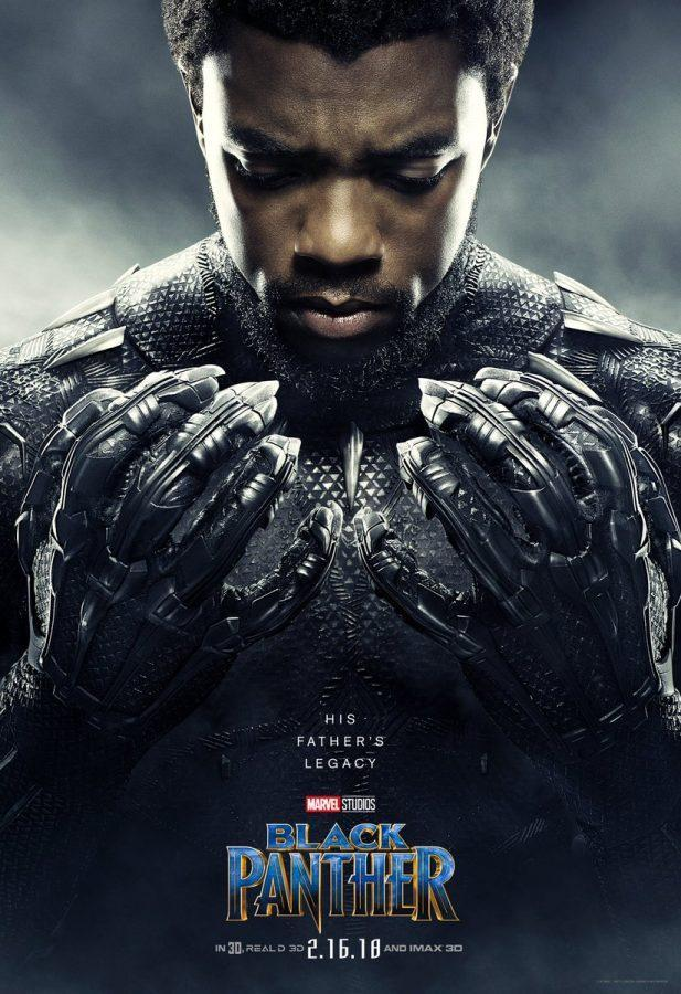 Movie+poster+for+Marvel+Studio%E2%80%99s+%E2%80%9CBlack+Panther.%E2%80%9D+Even+before+its+Feb.+16+release+date%2C+the+movie+has+already+broke+Fandango%E2%80%99s+ticket+sale+record+with+the+sale+of+advance+tickets.
