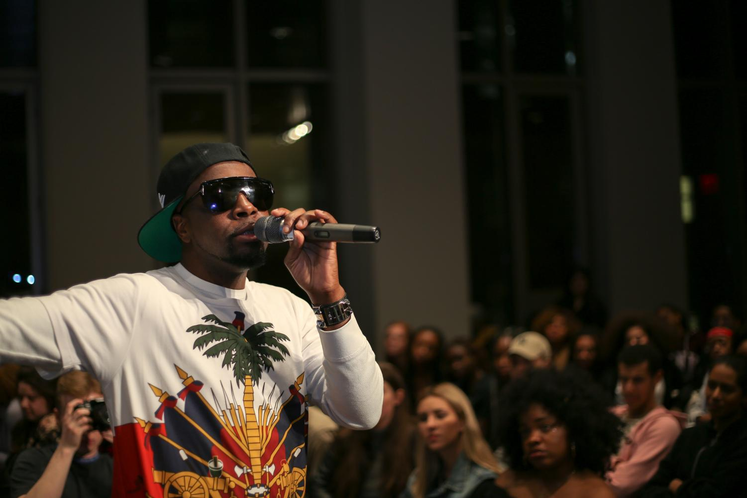 Rapper and musician Wyclef Jean performs during an event at the NYU Global Center for Academic and Spiritual Life on Feb. 13, marking the end of his masterclass in the Clive Davis Institute of Recorded Music.