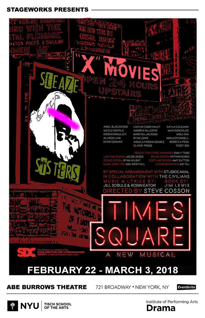 Poster for Tisch Drama's new musical 'Times Square' playing at Abe Burrows Theatre through March 3.