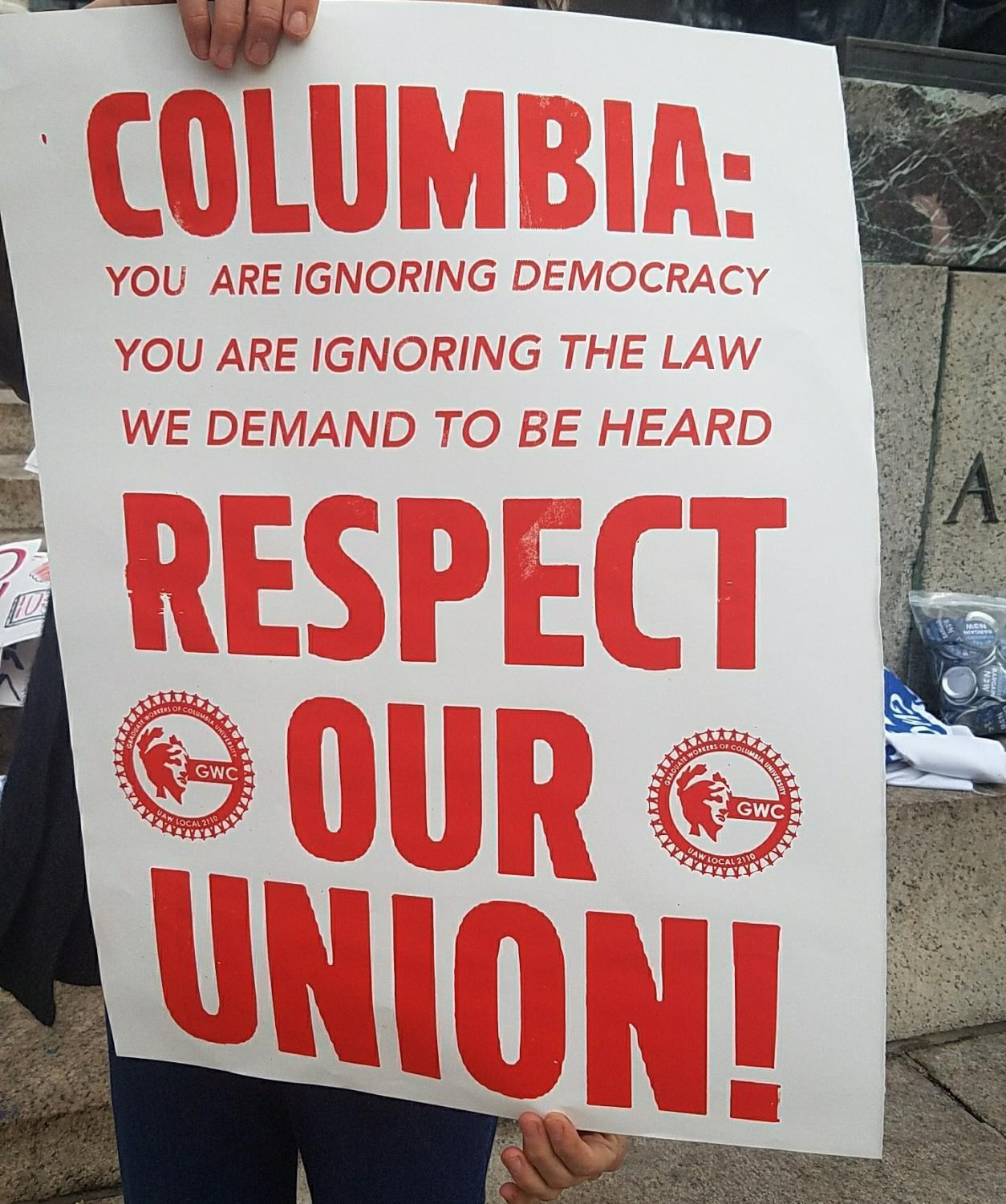 NYU's GSOC is showing support for Columbia University's graduate student union.