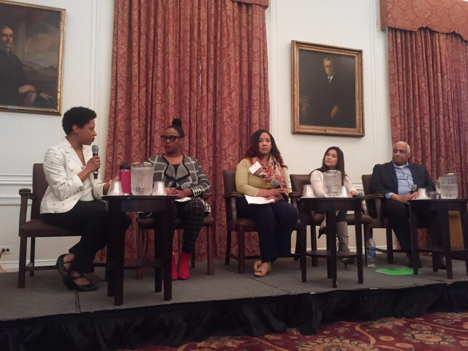 Left to right: Whitney Tome, Myra Mathis, Ebony Martin, Pallavi Phartiyal and Anthony Tansimore. The Institute for Policy Integrity at NYU School of Law hosted an event in which panelists discussed how the environmental movement can encourage diversity.
