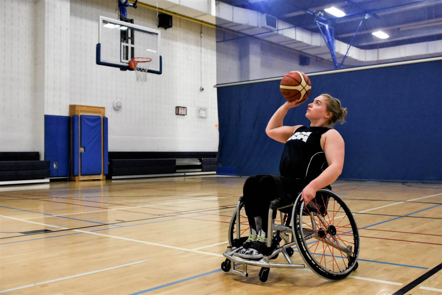 Josie Aslakson practices for the 2018 World Championships for wheelchair basketball.