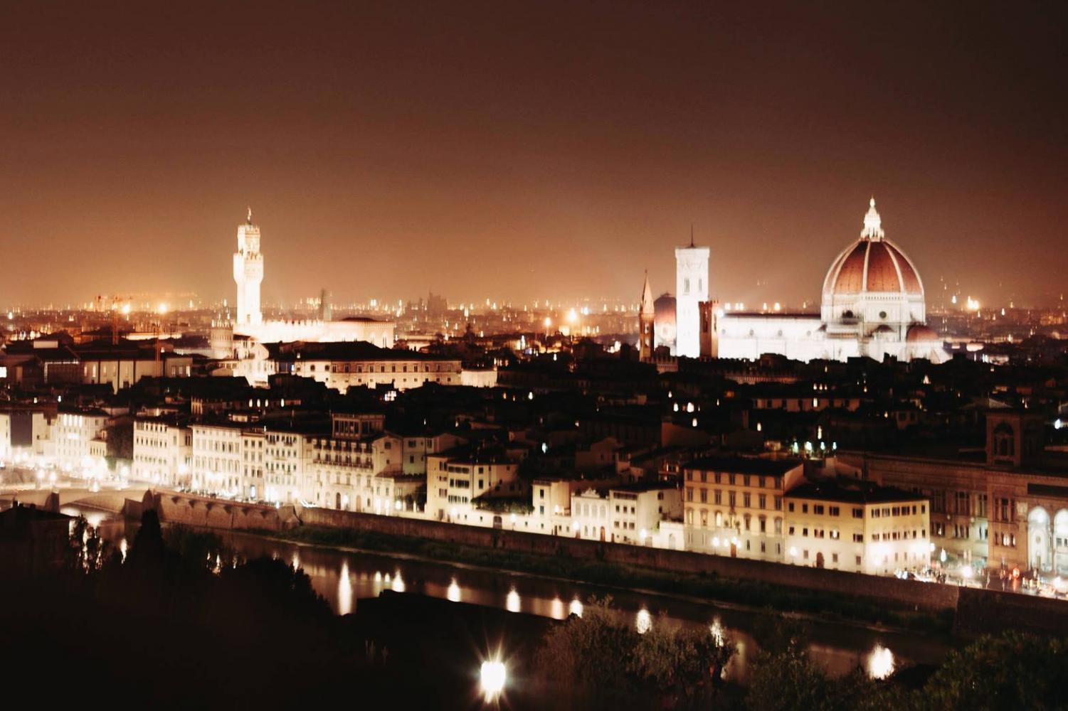 Overlooking Florence, Italy at night.